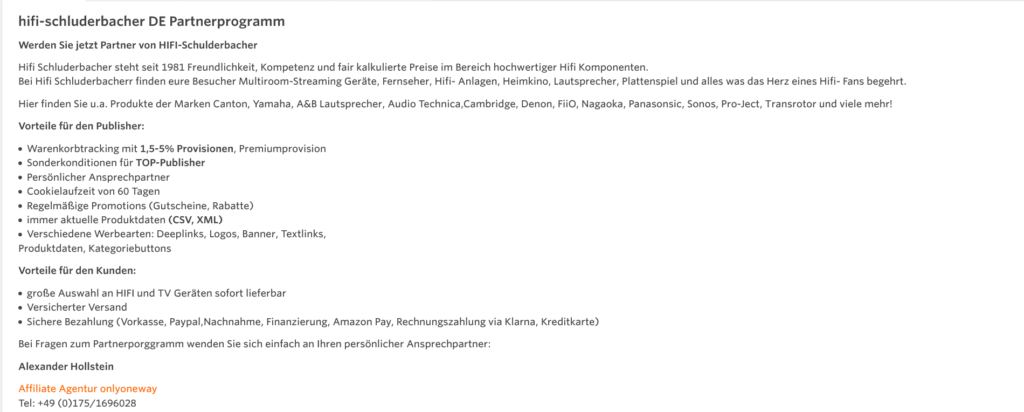Partnerprogramm Hifi Schluderbacher